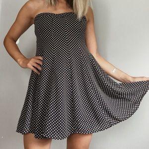 Francesca's navy polka dot dress